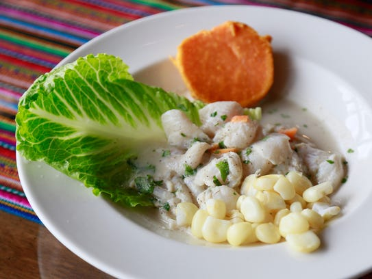 Ceviche ($12) with Peruvian corn and sweet potato from