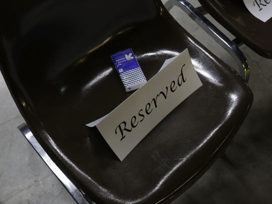 """Tissues  were put on the seats before the start of Ben Arbaugh's """"Last Lecture"""" Thursday at UW-Oshkosh's Titans Studios."""