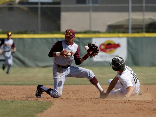 Simi Valley's Marcus Padilla fields a throw as St.