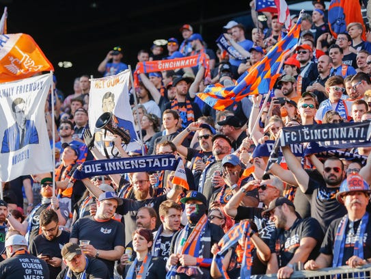 FC Cincinnati fans cheer in the Bailey during the game