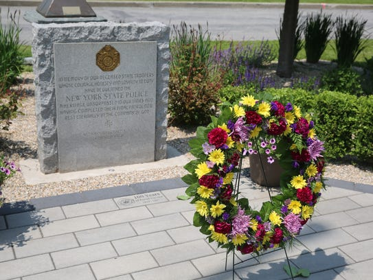 A wreath laid at New York State Police's Troop K Headquarters