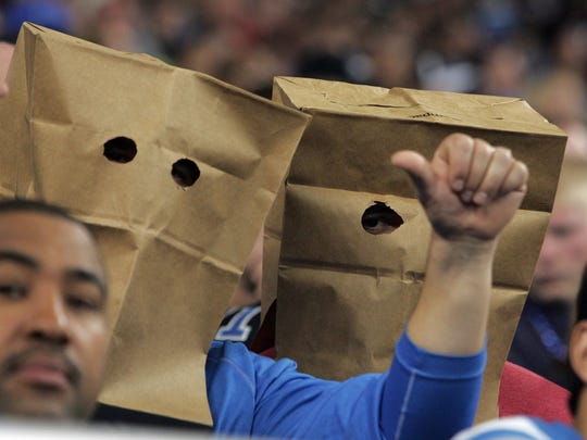 Detroit Lions fans broke out the bags in an October 2008 game.