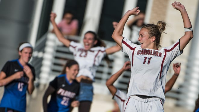 South Carolina's Chelsea Drennan celebrates after scoring a game winning penalty shot against Florida Oct. 16 in Columbia. South Carolina defeated Florida 1-0.