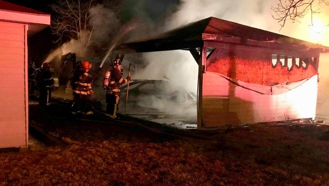 Montgomery Fire/Rescue responded to a fully involved blaze at a Montgomery apartment complex garage.