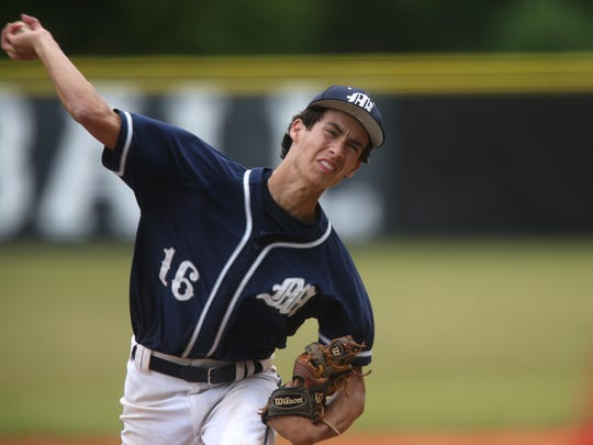 Maclay's Matt Boynton pitches in the District 1-3A championship game at NFC. The Marauders won 7-5 in nine innings.