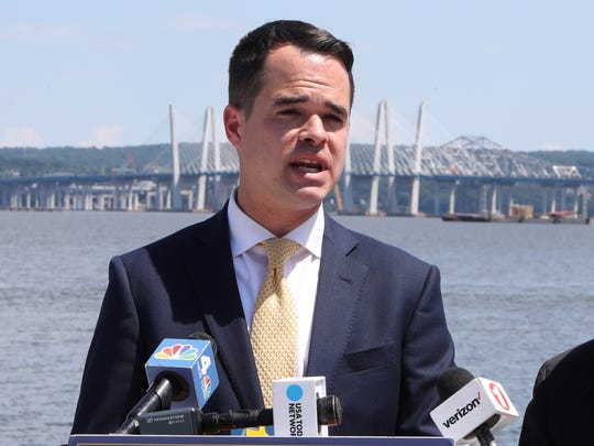 State Sen. David Carlucci, at Memorial Park in Nyack, calls on the state to end the cashless tolling contract with Conduent July 12, 2018.