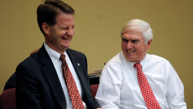 Knox County Mayor Tim Burchett talks with U.S. Rep. Jimmy Duncan Jr. during the Yesterday's Soldier Today's Veteran program at the Knoxville Expo Center in 2012.