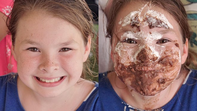Emily Finger, before and after competing in the Spree Pie-Eating Contest sponsored by the Livonia Observer.