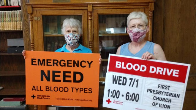 The First Presbyterian Church of Ilion is hosting an American Red Cross blood drive from 1 to 6 p.m. Wednesday, July 1. Pictured, Nancy White and Susan Backus display posters to be put up around the village.