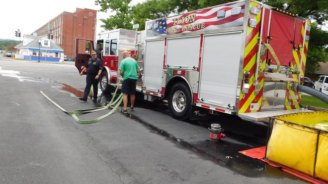 Ilion firefighters received training on the department's new 2019 Toyne custom pumper Tuesday. DONNA THOMPSON/TIMES TELEGRAM
