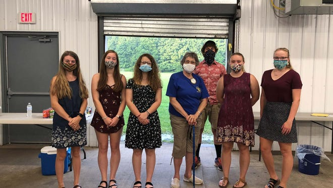 From left are Sarah Costello, Emily Walther, Baily Dunn, Club President Ann Maher, Casey Dibble, Portia Camardello and Caeli Campbell. Absent is Jack Oczkowski. SUBMITTED PHOTO