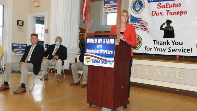 Claudia Tenney, candidate for New York's 22nd Congressional District seat, addresses those who gathered at the Ilion Municipal Building on Tuesday when the  United Mine Workers of America Local 717 announced the candidates the union has endorsed.