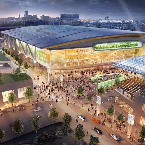 This artist's rendering provided by Populous, HNTB Corporation and Eppstein Uhen Architects, shows a proposed new arena for the Milwaukee Bucks NBA basketball.