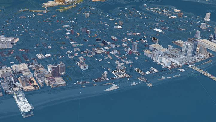 A Google Earth image of Atlantic City in 2100, using