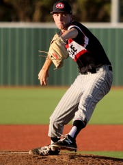 Colleyville Heritage's Michael Stanford pitches in