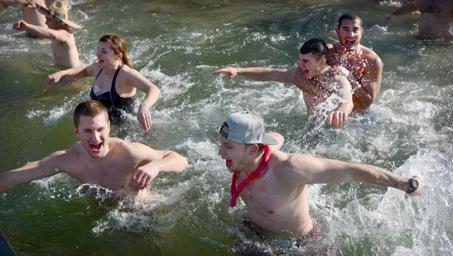 Hundreds gathered for the 2015 Polar Bear Plunge at Willow Springs Park in Richland on New Year's Day. The event raises money for Developmental and Disability Services of Lebanon County.