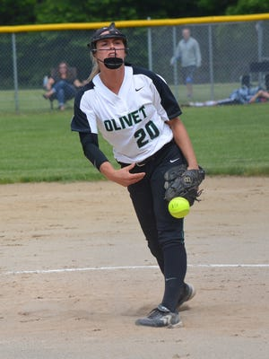 Olivet's Jaclyn Groves threw back-to-back no-hitters in beating Hastings and Pennfield in district tournament action on Saturday.