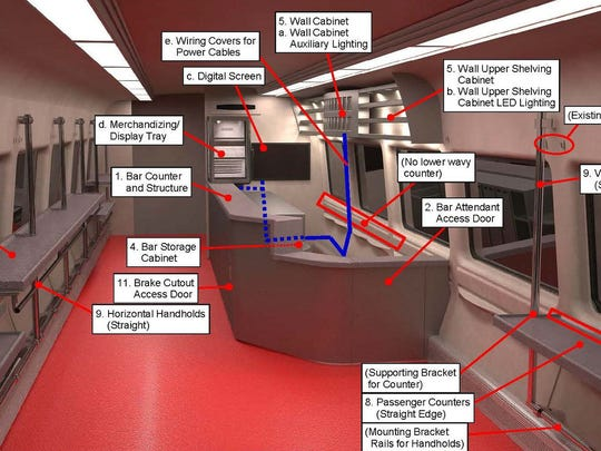 A preliminary design of bar cars for Metro-North's New Haven Line.