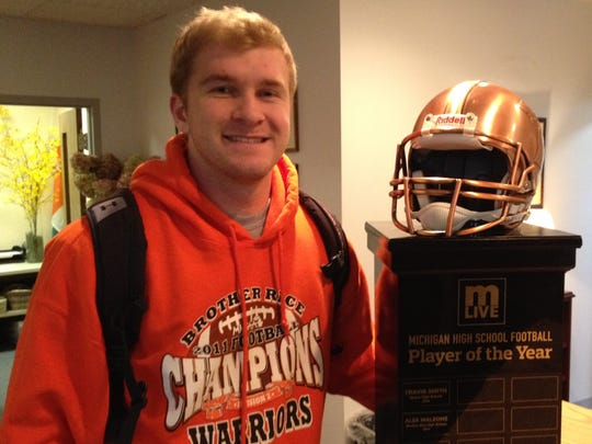 Farmington Hills resident Alex Malzone was named M-Live's Michigan High School Football Player of the Year in his senior season at Brother Rice.