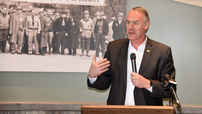 Interior Department Secretary Ryan Zinke spoke Tuesday at the Horicon Marsh State Wildlife Area when presenting nearly $35 million in grants to the Wisconsin Department of Natural Resources.