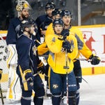 Predators prospect Kevin Fiala, front center, is currently with the Milwaukee Admirals of the AHL.