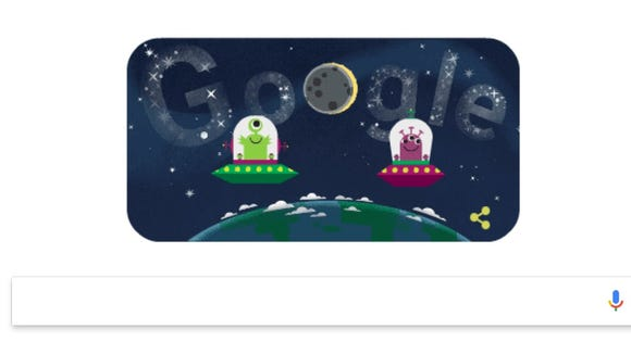Google's doodle in honor of the 2017 solar eclipse.