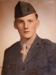 This is a military photo of Clayton Chipman, a Marine and Iwo Jima veteran.
