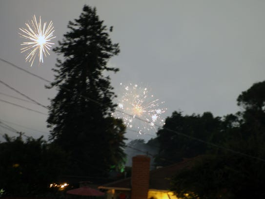 A backyard redwood tree is framed by exploding skyrockets