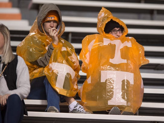 Vol fans keep dry during a game between Tennessee and