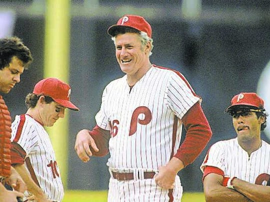 Phillies manager Dallas Green with (from left) Bob Boone, Larry Bowa and Manny Trillo before a 1980 game at Veterans Stadium.