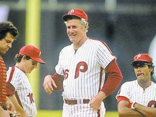 Phillies manager Dallas Green with, from left, Bob Boone, Larry Bowa and Manny Trillo at Veterans Stadium in 1980.