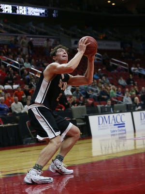 Solon's Jacob Coons shoots the ball during the Solon vs. Chariton 3A first round game of the Iowa High School Boy's Basketball Championship on Tuesday, March 8, 2016, in Wells Fargo Arena.