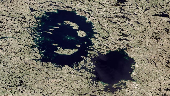The Clearwater Lakes in Quebec, Canada, are believed to be the result of a double impact.