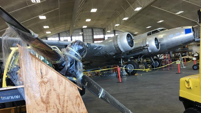 A new propeller waits to be installed on the Memphis Belle.