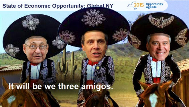 A slide, from Gov. Andrew Cuomo's 2015 State of the State address, pokes fun at the relationship among then-Assembly Speaker Sheldon Silver, the governor and then-Senate Majority Leader Dean Skelos. Soon talk turned to ethics reform, after Skelos and Silver were charged with corruption.