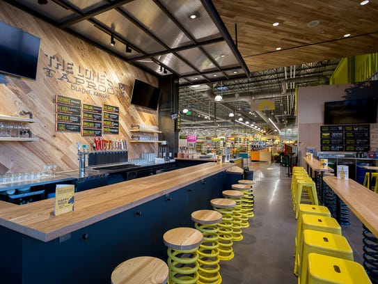 This is the taproom located inside the Whole Foods