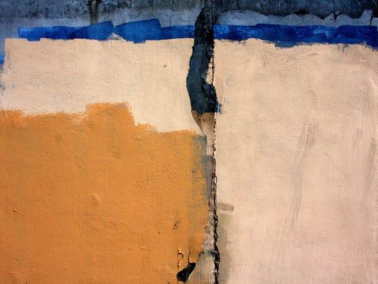 A photograph of a buffed wall taken behind Big Lots