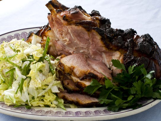 Hoisin-glazed ham with Napa cabbage-snow pea slaw.