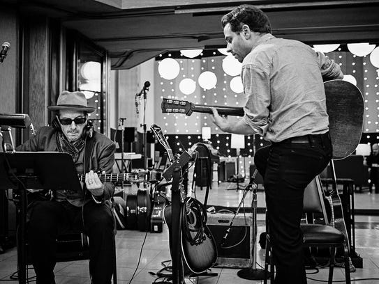 Goldsmith in the studio with Elvis Costello for 'New