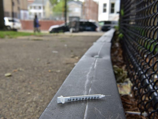 A discarded hypodermic needle at Barbour Park in Paterson.