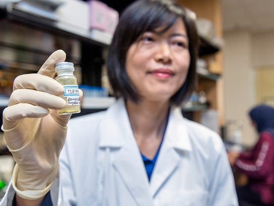 MTSU breast cancer lead researcher Iris Gao holds the