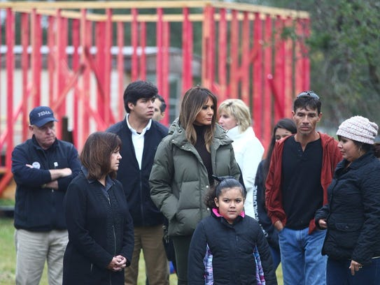 First lady Melania Trump (center) and Texas first lady