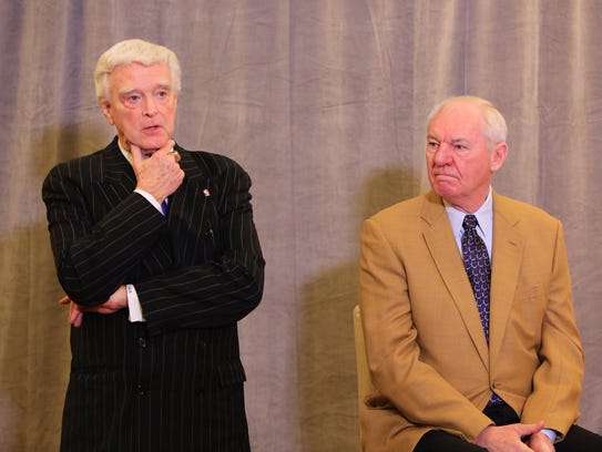 Attorney J. Bruce Miller, left, and Hall of Famer Dan Issel announce a new initiative to bring an NBA team to Louisville. Feb. 15, 2018