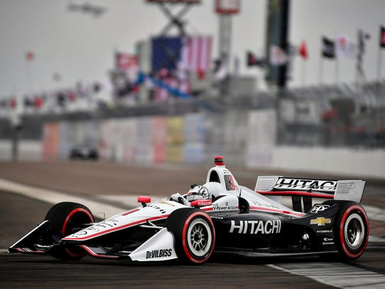 Josef Newgarden races the new car in the 2018 season