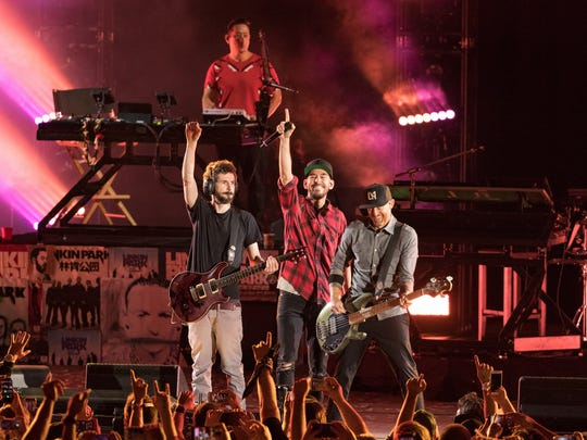 Musicians from Linkin Park;  Brad Delsen, Mike Shinoda, Joe Hahn and Dave Farrell perform during the 'Linkin Park And Friends Celebrate Life In Honor Of Chester Bennington' event on Oct. 27, 2017 in Hollywood.