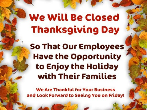Alfa img showing gt we will be closed for thanksgiving