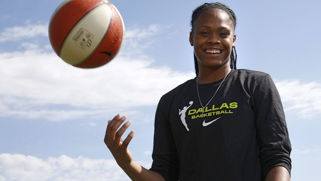 Dallas Wings guard Moriah Jefferson poses for a portrait near her home in Frisco, Texas.