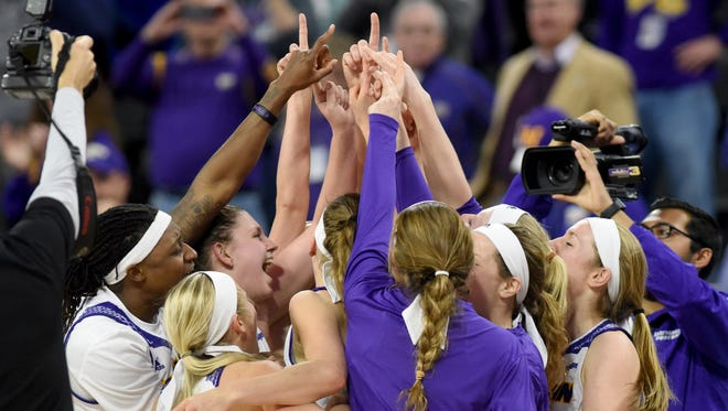 Western Illinois celebrate their victory over IUPUI during the Summit League women's basketball championship on Tuesday, March 7, 2017 at the Denny Sanford Premier Center.  Final score was 77-69.