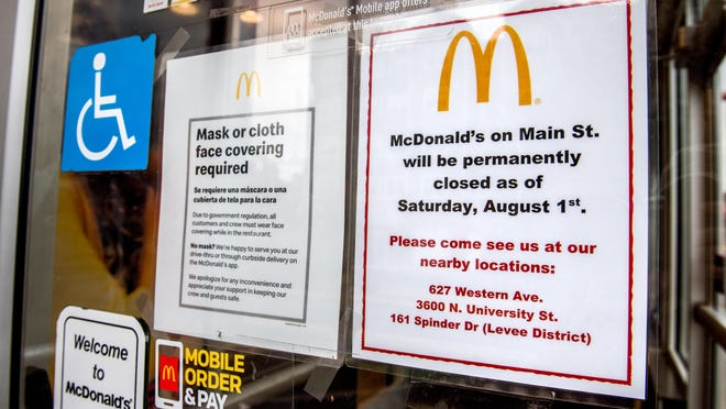 A sign on the door at McDonald's at 1017 W. Main St. in Peoria states the restaurant will close for good as of Saturday.