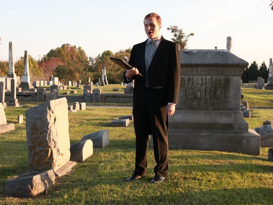Sidney Burngasser plays the ghost of Judge Milton Brown Friday at the annual Downtown Ghosts-A-Walking Tour.